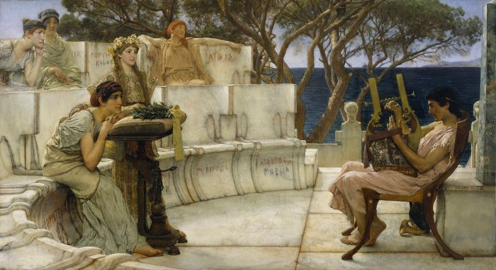 1280px-Sir_Lawrence_Alma-Tadema,_RA,_OM_-_Sappho_and_Alcaeus_-_Walters_37159